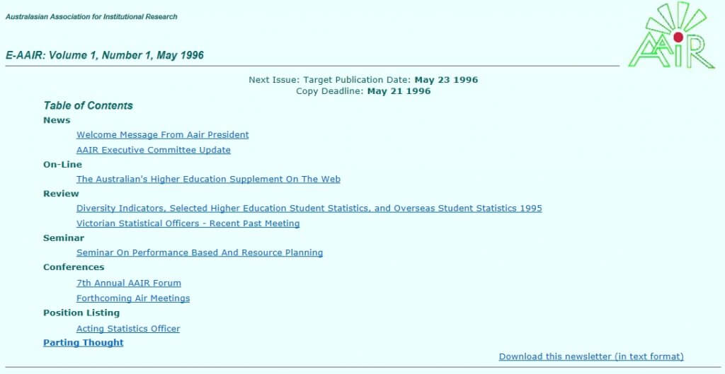 Screen grab of the first recorded edition of the AAIR newsletter