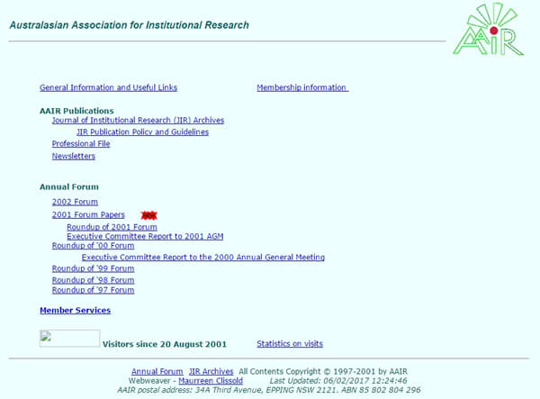 Screen grab of first AAIR website, circa 2001