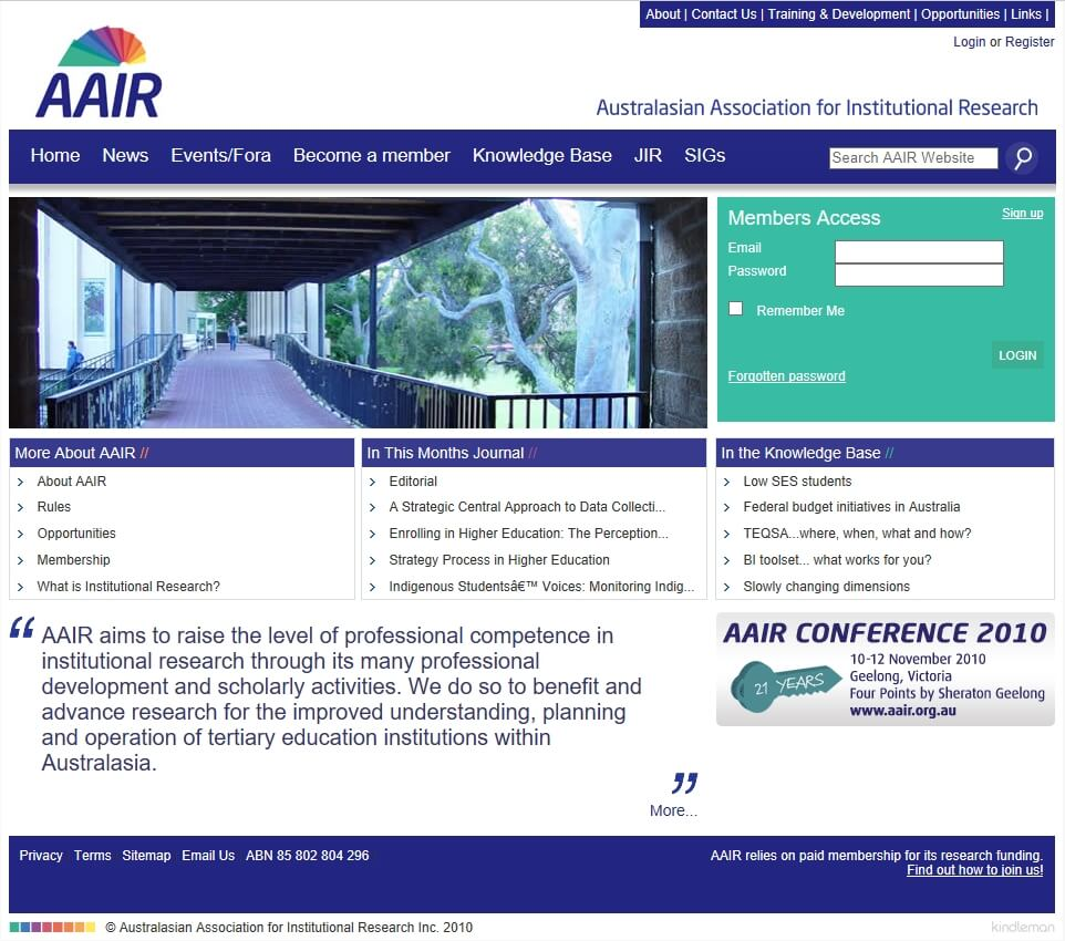Screen grab of AAIR website in 2010