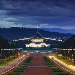 Photo of Capital Hill in Canberra at night