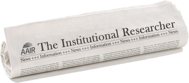 Photo of a newspaper headed 'The Institutional Researcher'