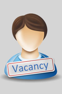 Vacancy sign hanging around a person's shoulders