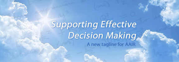 Photo of clouds and the AAIR tagline, Supporting Effective Decision Making'
