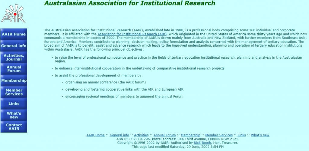 Screen grab of AAIR website, 6 August 2002