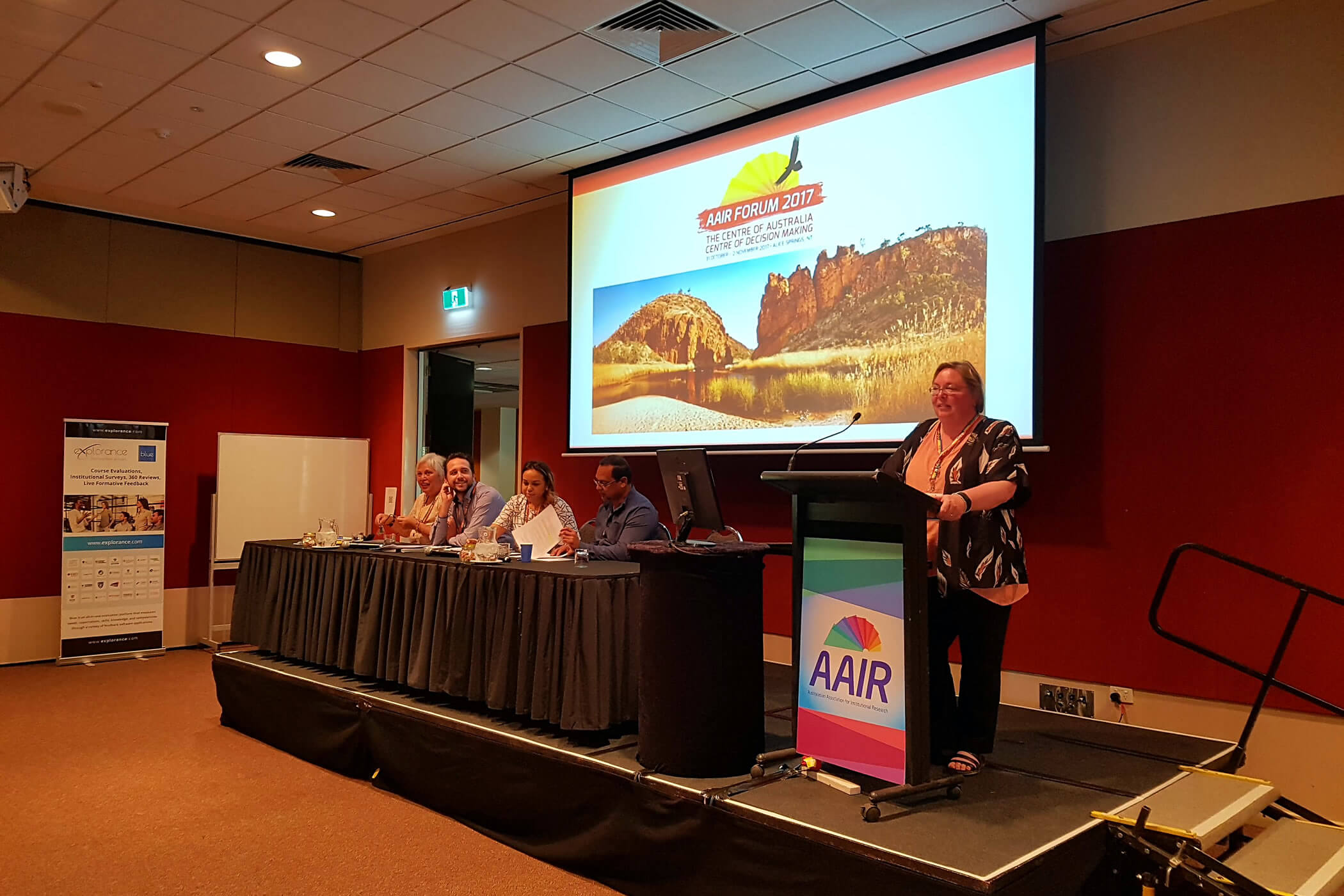Photo of the panel session at the 2017 AAIR Forum in Alice Springs