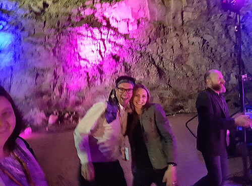 Photo of David Carroll and Rhianna Harker dancing at the 2017 Forum Dinner venue - The Old Quarry, Alice Springs