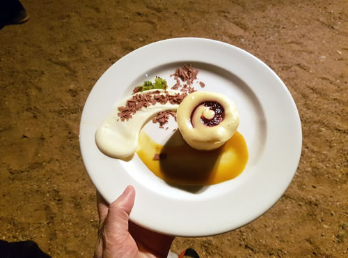 Photo of the dessert in the desert at the 2017 Forum Dinner venue - The Old Quarry, Alice Springs