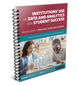 Picture of the front cover of a book: Institutions use of data and analytics for student success