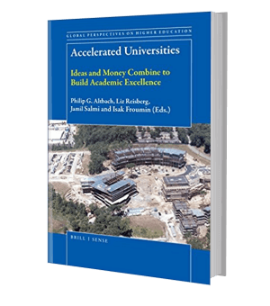 Cover of a book showing arial shot of a university