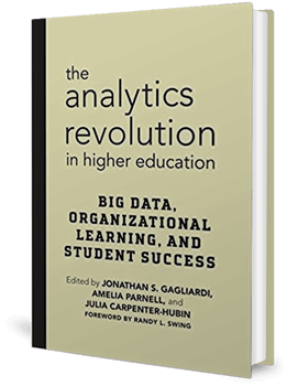 Cover of a book with muted colours with the title, The Analytics Revolution in Higher Education...