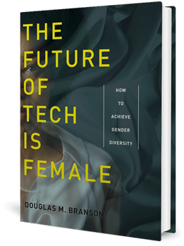 Cover of a book with muted colours with the title, The Future of Tech Is Female