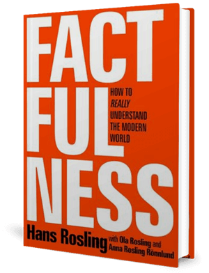 Cover of a book, orange, with the word Factfulness on it