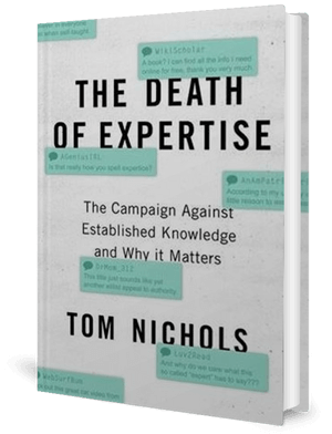 Cover of a book, white, with the words The Death of Expertise on it