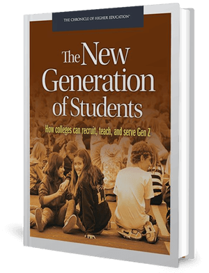 Cover of a book in brown colour with a group of students sitting around