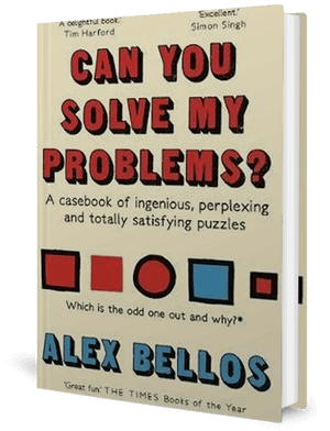 Cover of a book with the title and a circle and four squares in reds and blue