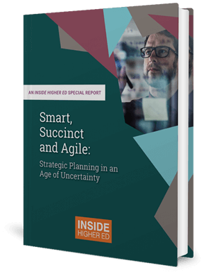 Cover of a book with geometric shapes and a photo of a man wearing glasses holding a pen