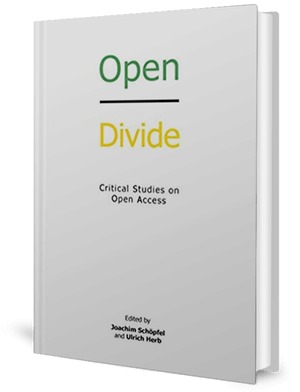 White cover of a book with the word open in green and the word divide in yellow