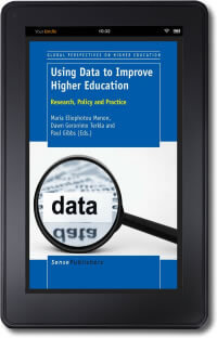 Picture of the cover of Using Data to Improve Higher Education on a kindle device