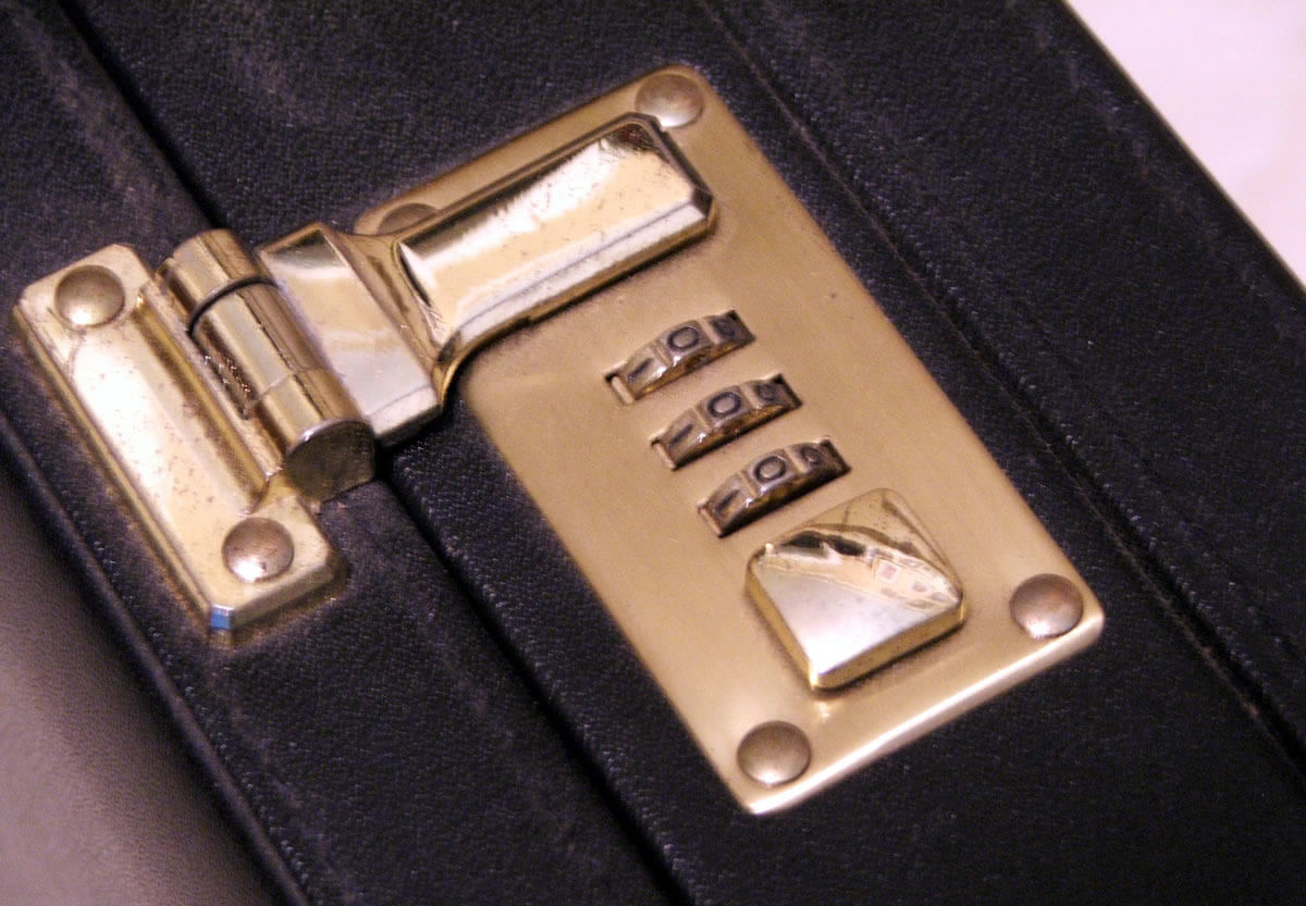 Photo of the lock on a briefcase
