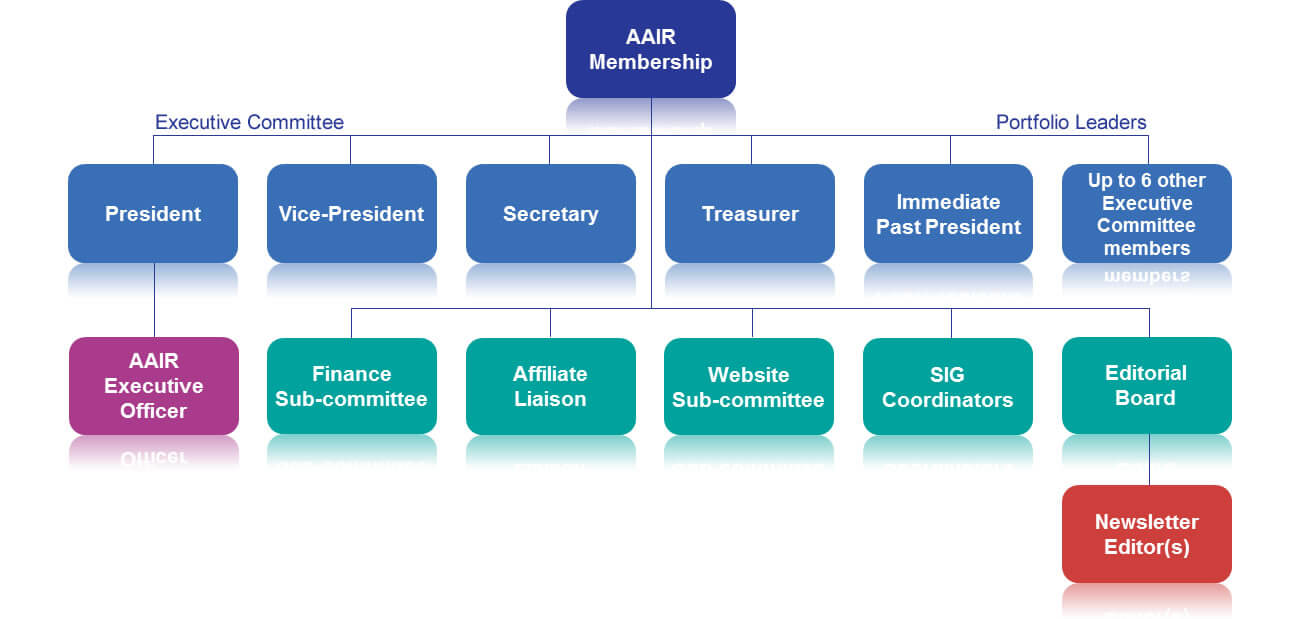 Diagram showing the organisational structure of AAIR