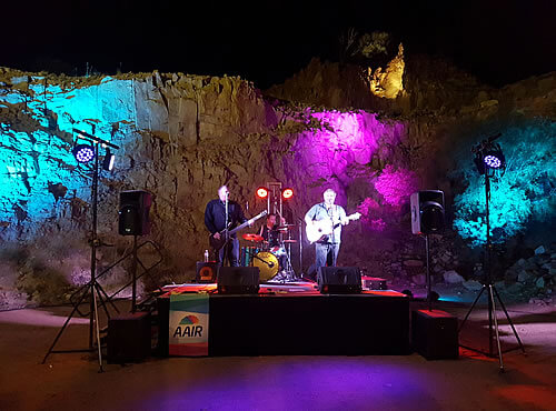 Photo of the band playing at the 2017 Forum Dinner venue - The Old Quarry, Alice Springs