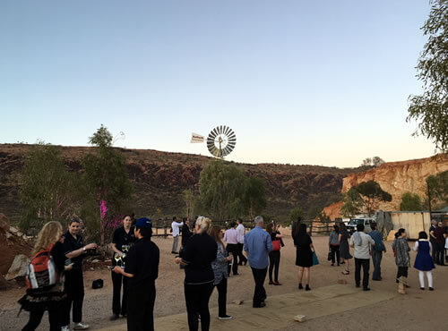 Photo of the people at the 2017 Forum Dinner venue - The Old Quarry, Alice Springs