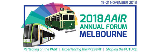 Logo for the AAIR Forum showing an old tram and a new tram
