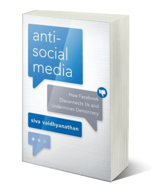 Cover of a book with blue and grey thought bubbles containing text