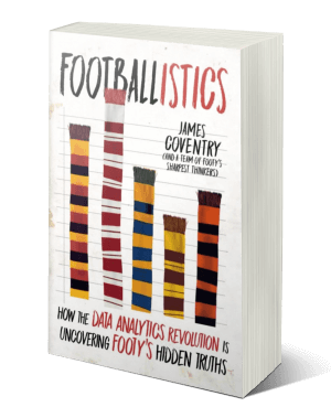 Cover of a book with different coloured football scarves displayed like a graph