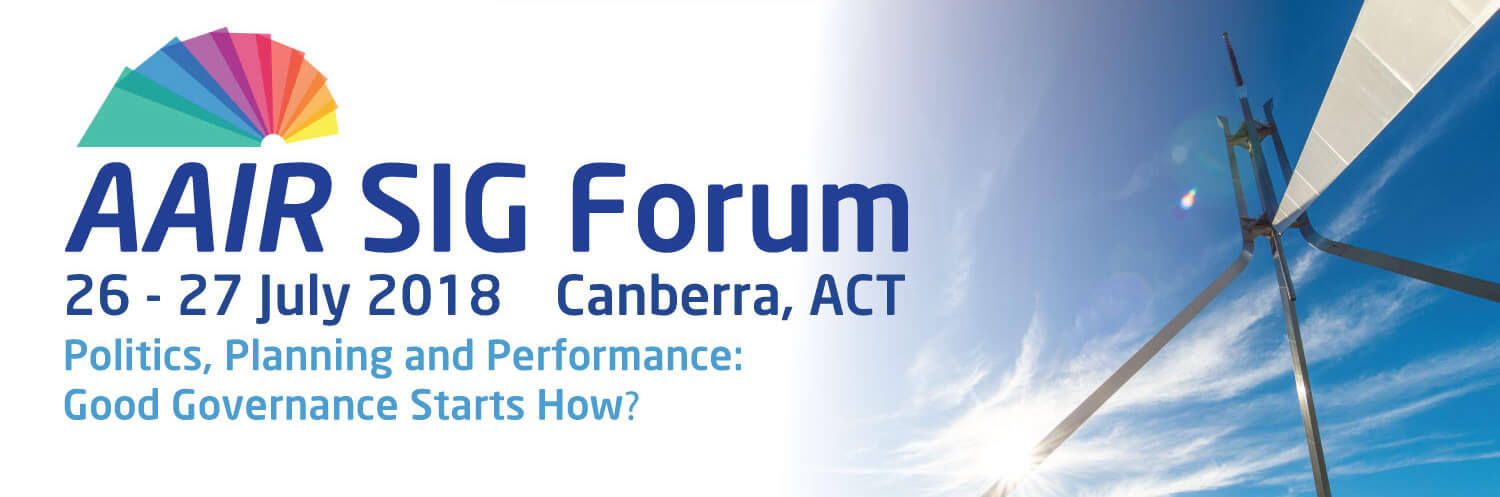 Banner for the AAIR SIG Forum 2018 with the top of the structure from Capital Hill in Canberra on the right