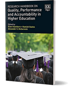 Cover of a book showing the backs of graduates heads wearing mortar boards