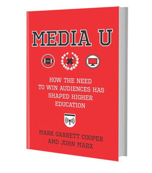 Red cover of a book with the words MEDIA U on it and three logos beneath that