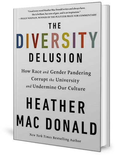 Cover of a book, white, with the words The Diversity Delusion on it