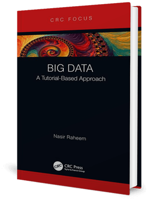 Cover of a book with mostly black but a rainbow swirling pattern across the top and the text: BIG DATA