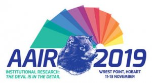 2019 AAIR Forum logo with the theme and a drawing of a Tassie Devil in the centre
