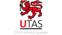 Logo of the University of Tasmania with a red lion holding a torch