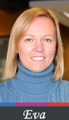Photo of Eva Seidel wearing a blue polo neck sweater