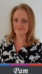 Photo of Pam Rayner wearing a black and white patterned shirt