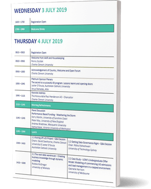 Cover of the program for the 2019 SIG Forum Program, just lines of text and bars of green colour
