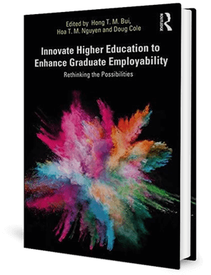 Cover of a book with a black background and a burst of colours