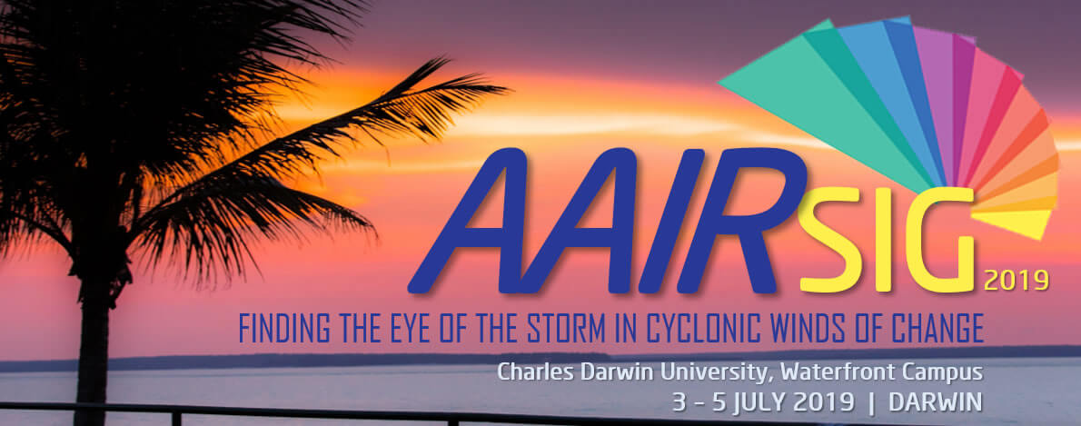 Photo of a sunset over the ocean with the sillhouette of a palm tree and the AAIR SIG logo