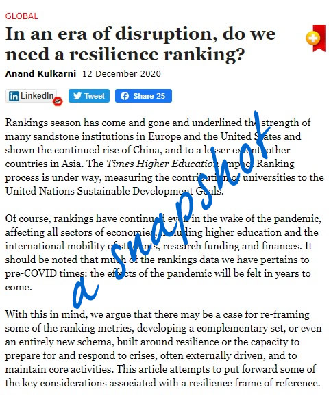Screen grab of the article from University World News