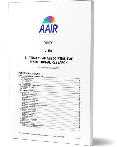 Front page of the AAIR Rules with table of contents.