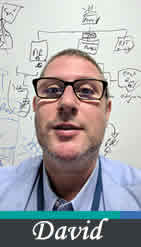 Photo of David Cawthorne wearing reading glasses with a whiteboard behind him with flowcharts on it.